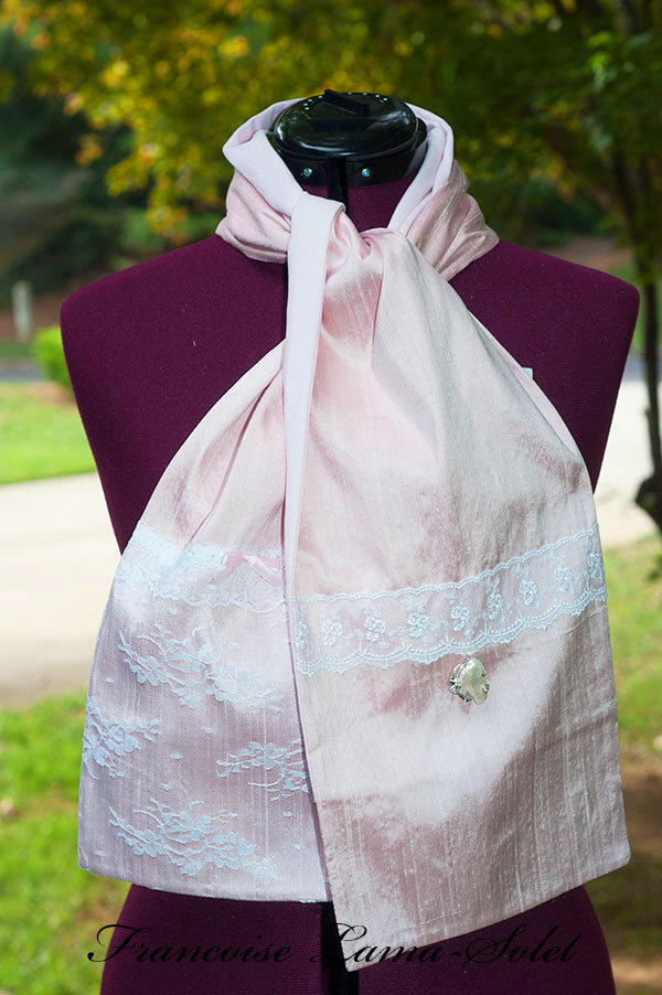 Women's elegant romantic chic victorian shabby pink dupioni silk white lace scarf Belle Epoque