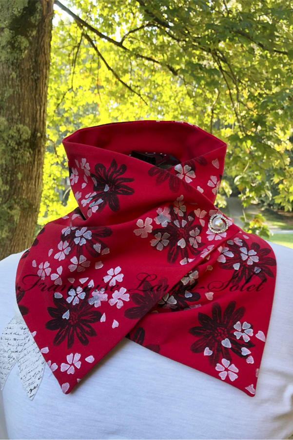 Red button neck warmer scarf hand printed with black daisies and pearl white cherry blossoms – Black Daisies
