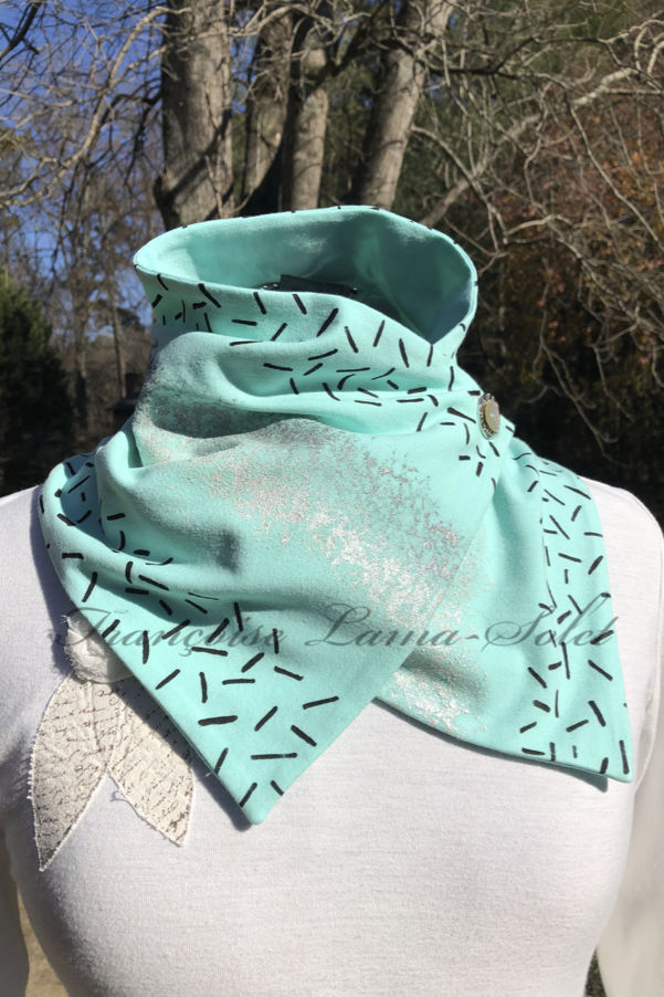 Women's button neck warmer scarf wrap hand made with seafoam mint green cotton jersey and hand printed with abstract print – A Breeze of Hope