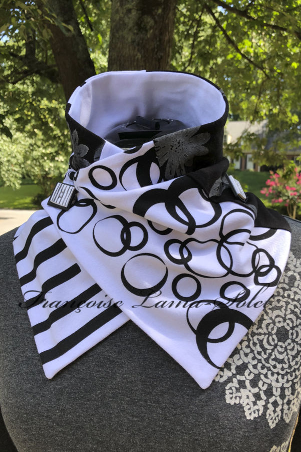 One of a kind art to wear patchwork neck warmer scarf handmade with white cotton jersey and hand printed with black bubbles, stripes, flowers.