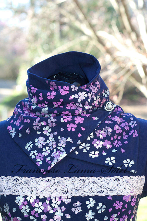 Womens Artsy Hand Printed Neck Warmer Scarf Japanese Cherry Blossom