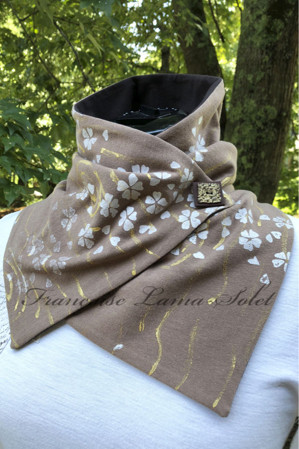 Light brown cotton jersey neck warmer scarf hand painted with metallic gold and hand printed with pearl cherry blossoms – Blossoms in the Fall