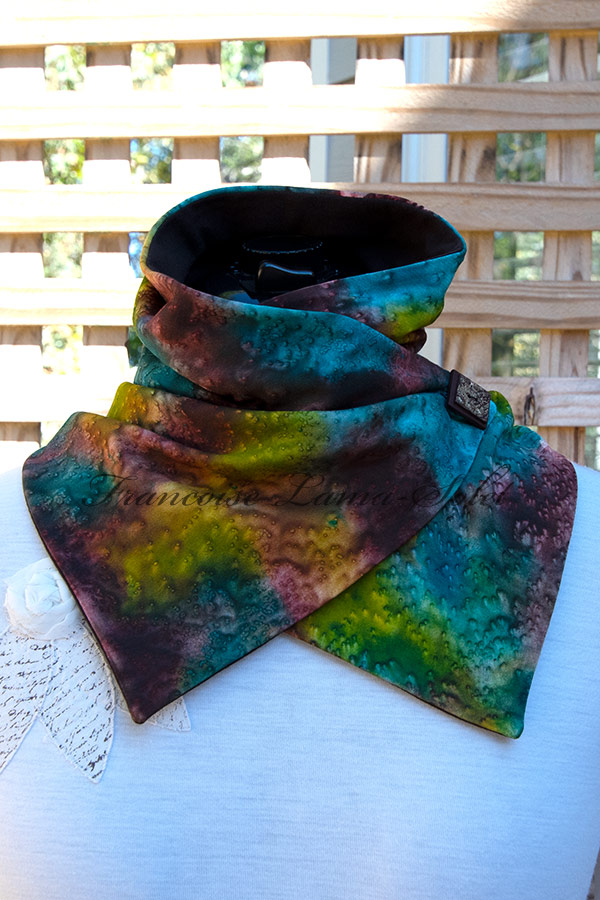 Women's wearable art button neck warmer scarf handmade, hand painted and sun printed in different shades of brown, teal and yellow sulfur green - Forest