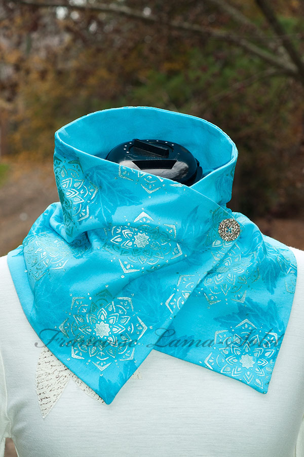 Artsy hand printed turquoise mandala leaf women modern button scarf Frosted Mandala