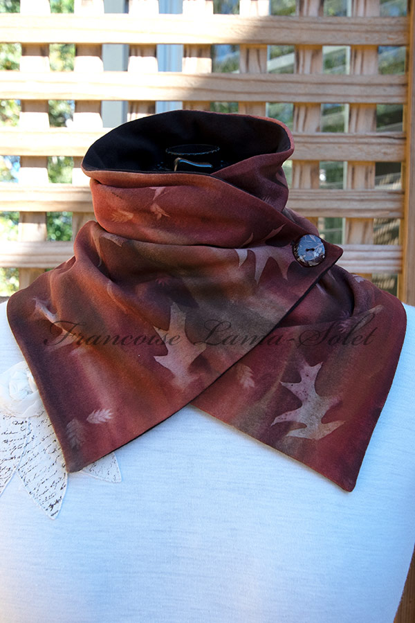 Women's wearable art button neck warmer scarf handmade, hand painted in different shades of brown and sun printed with leaves - Ginger