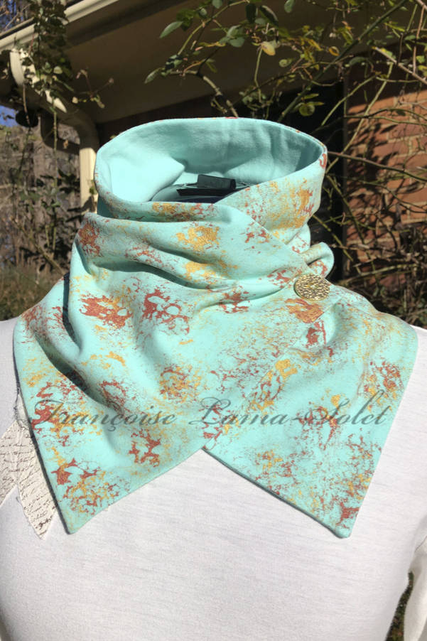 Neck warmer scarf wrap handmade with seafoam green cotton lycra jersey and hand painted with gold and copper - Jade