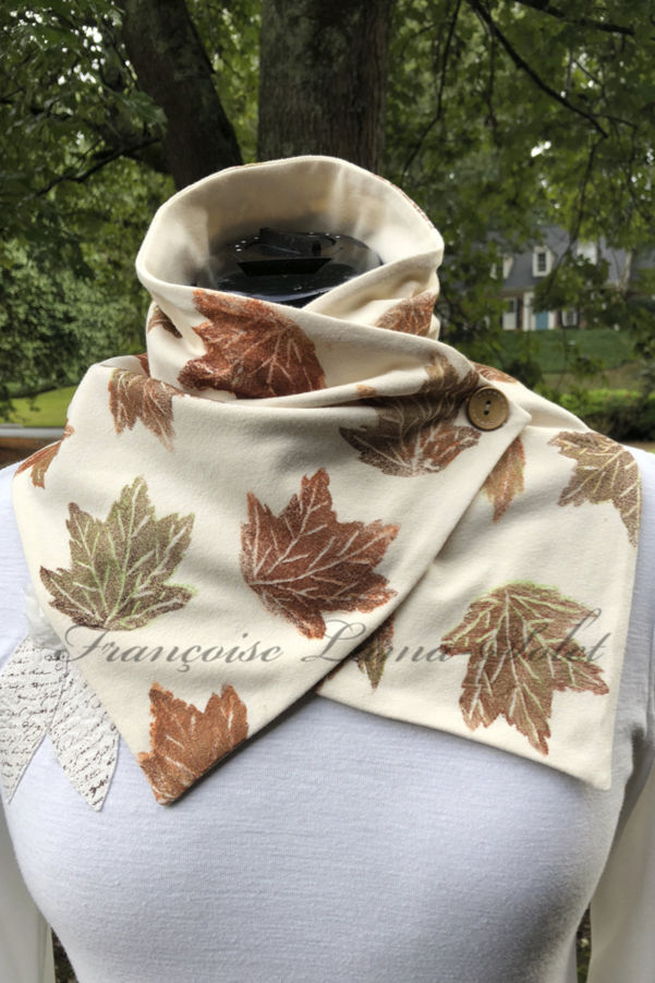 Cute Ivory button neck scarf wrap hand printed with autumn leaves and handmade with cotton jersey – Leaves in the Fall