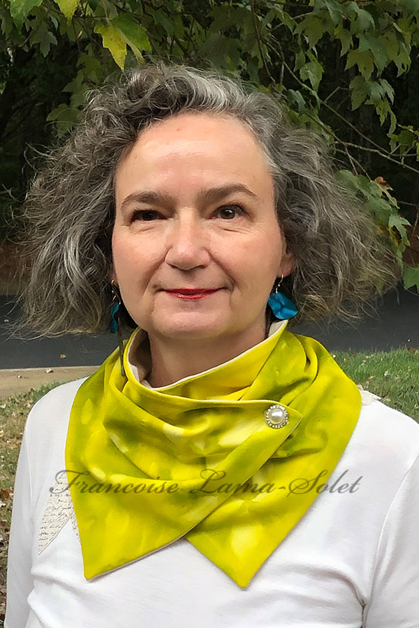 Women's one of a kind wearable art hand painted neck warmer scarf in the shades yellow and green and sun printed with leaves - Lemon Lime #2