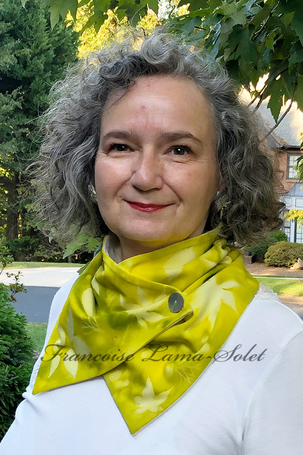 Women's one of a kind wearable art hand painted neck warmer scarf in the shades yellow and green and sun printed with leaves - Lemon Lime