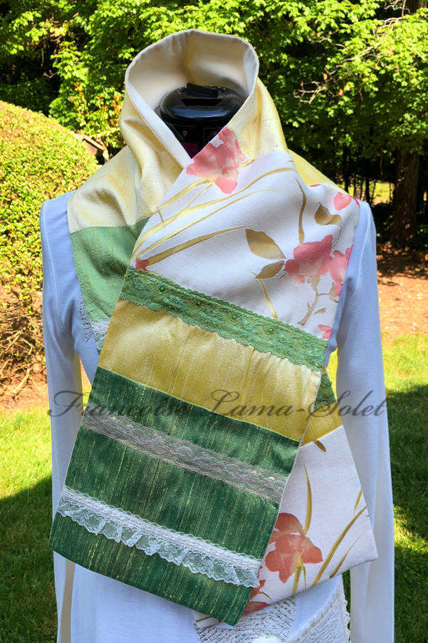 Women's elegant romantic spring summer patchwork yellow green floral lace trimmed silk scarf Lemon Lime