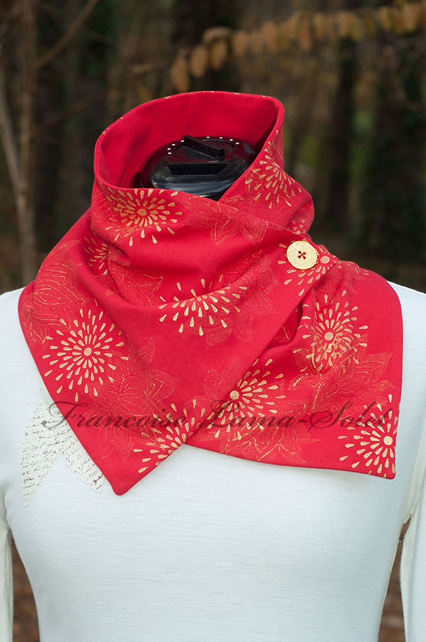 womens-art-to-wear-red-gold-lotus-modern-neck-warmer-scarf-button-scarf