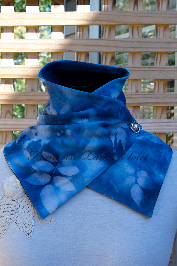 Women's wearable art blue button neck warmer scarf handmade, hand painted and sun printed with leaves - Marilee