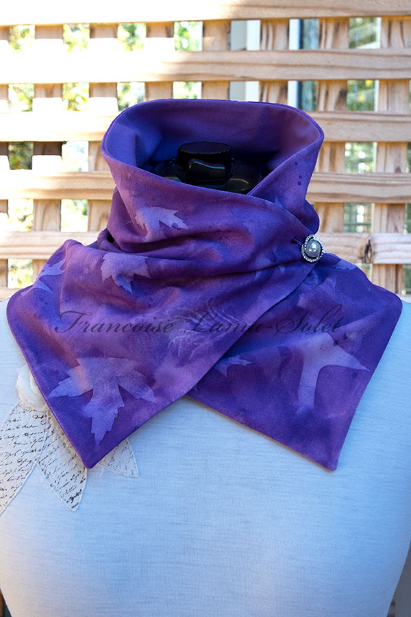 Women's wearable art purple button neck warmer scarf handmade, hand painted and sun printed with leaves - Purple Dream