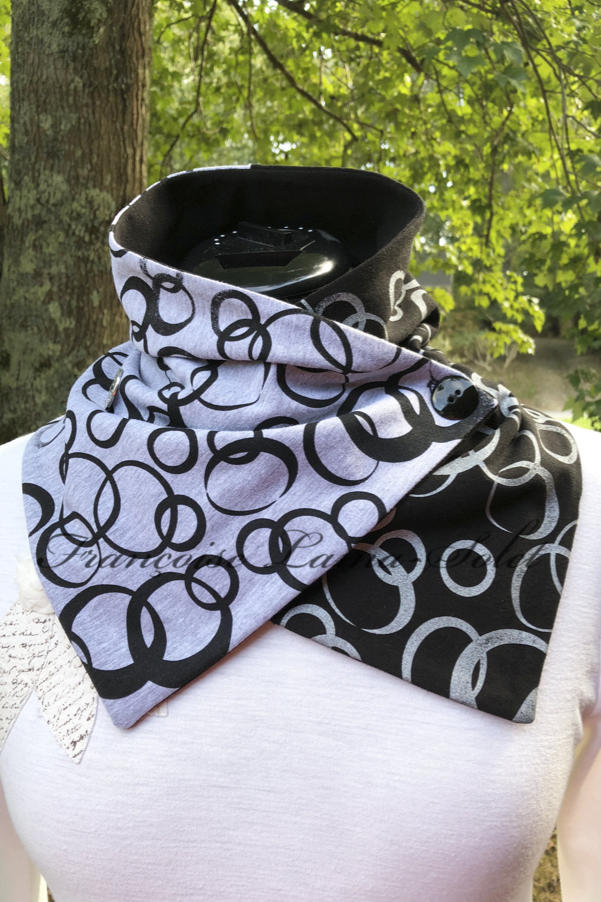Womens asymmetrical black and grey button neck scarf hand printed with a modern and urban bubble print – Silver and Black Bubbles