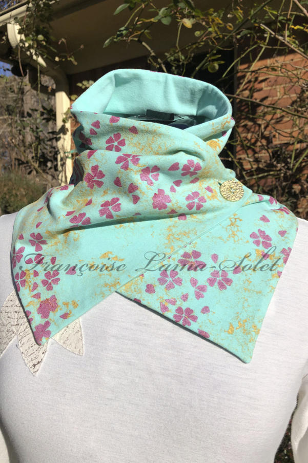 Fashion button neck scarf handmade with seafoam green cotton and hand painted with gold pattern and pink cherry blossoms – Spring in Bloom