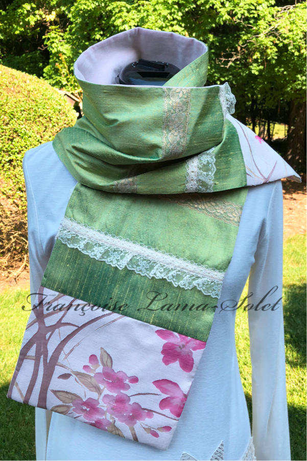 Women's artsy elegant romantic spring summer patchwork lime green pink floral lace silk scarf Spring