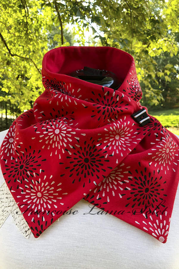 Art to wear stylish button neck warmer scarf handmade with red cotton lycra and hand printed with stars – Star Ruby
