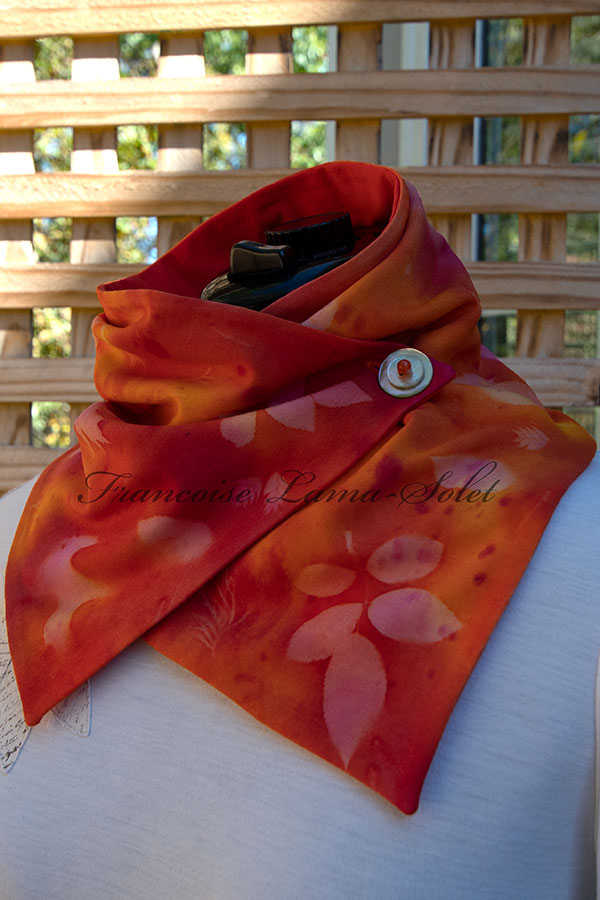 Women's wearable art unique colorful orange, yellow and pink fashion button neck scarf, handmade, hand painted and sun printed with leaves – Summer Explosion