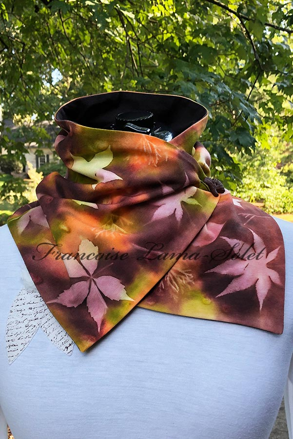 Women's one of a kind hand painted button neck warmer scarf with brown, green, orange shades and maple leaf and cypress leaf print – Walk in the Forest